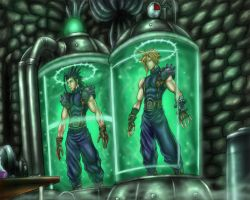 FF7- Cloud - Zack in Mako Tubes of Nibelheim Manor by SoulStryder210