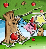 Kirby vs the Whispy Willows by notbadword