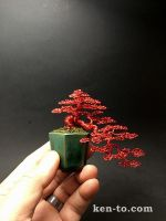 Red cascading wire bonsai tree by Ken To by KenToArt