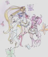 Moon and Chibimoon colored by kimlasca
