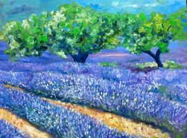 Lavender Field and Trees by NancyvandenBoom