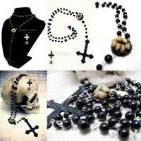 Gothic - Devil Black Rosary with inverted cross by Verope