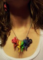 Rainbow Tentacle Necklace by CraftMagic