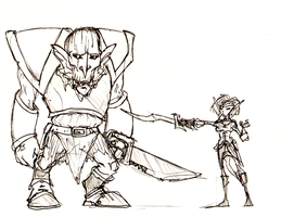 Borgoth and Eswin sketch by Rather-Drawn