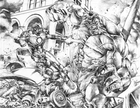 Ironman vs. Hulk commission by MicoSuayan