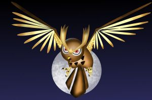 noctowl and the moon by pokemony