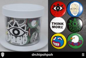 drchipohpoh [5] set of 6 buttons' by drchipohpoh
