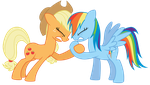 Applejack and Rainbow Dash Hoof Wrestling by TomFraggle