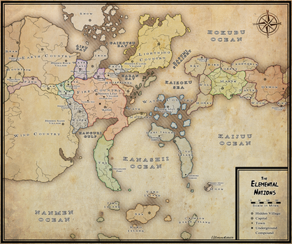 Elemental Nations Political Map by xShadowRebirthx