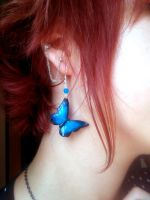 Blue Butterfly Earrings - in action =) by Mors-Meara