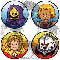 He-Man and She-Ra Buttons by kuroitenshi13