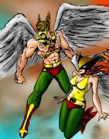 Hawkman and Hawkgirl by RamonVillalobos