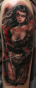 warrior girl red by Remistattoo
