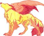 Flare- The Winged Fire Wolf by Downpourpony