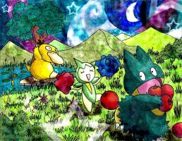 Psyduck, Roselia and Munchlax v2 by Macuarrorro