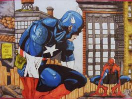 Cap Vs Spidey colour by scribbletits
