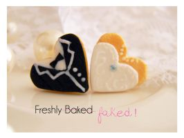 Bride And Groom Cookie Earrings by Lulou-handmade