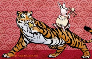 A harmonic tune - Tiger and rabbit by Ninja-Jamal