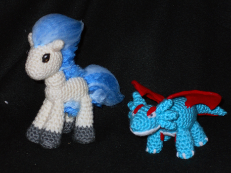 Ponyta and Salamence Plushies by black-moon-flower