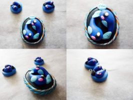 Polymer Clay Pisces Pendant by Saru-Hime