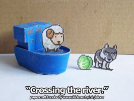 Advance Wars papercraft Lander crossing the river by ninjatoespapercraft