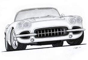1962 Chevy Corvette Roadster Pro Touring Drawing by Vertualissimo