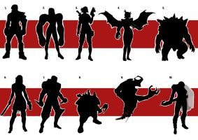 Character Silhouette set 1 by digital-clown