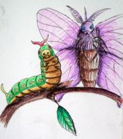 Caterpie and Venomoth for Legrandzilla by pie-lord