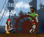 Boba Fett hijacking the Black Pearl by mahiyanacarudla