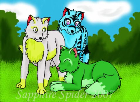Xavia, Garden, and Sunny by sapphire-spider