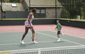 Venus Williams and tiny Rafael by lowerrider