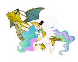 Celestia and Dragonite Go British Day 11 by DrLonePony