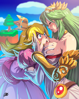SSB - Peach VS Palutena by oNichaN-xD