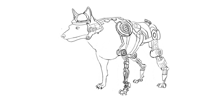 WIP Lineart, Fallout Military Cyber Dog by Buhzooka