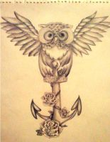 Owl Tattoo Design by Mahna-Mahna