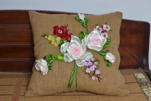 Ribbon Embroidery Pillow by crystalrain2702