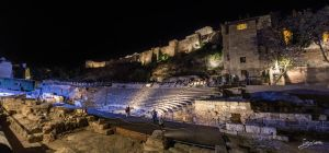 Magic in the roman theater at night by JuanChaves