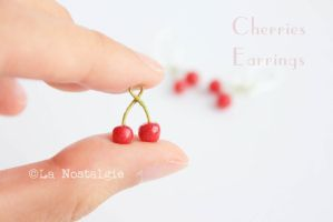Red Cherry Miniature Fruit Clay Dangle Earrings by LaNostalgie05