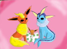 Flareon and Vaporeon by paucupine