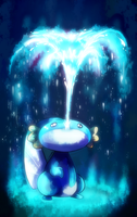 Mudkip used water spout by HERthatDRAWS