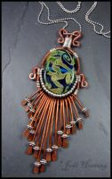 Copper and Sterling Lampwork Glass Pendant by andromeda