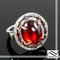 Garnet and sterling silver and rose gold halo ring by mooredesign13