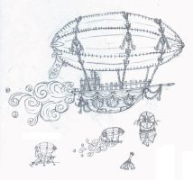 Airship Sketch by sakurafairy