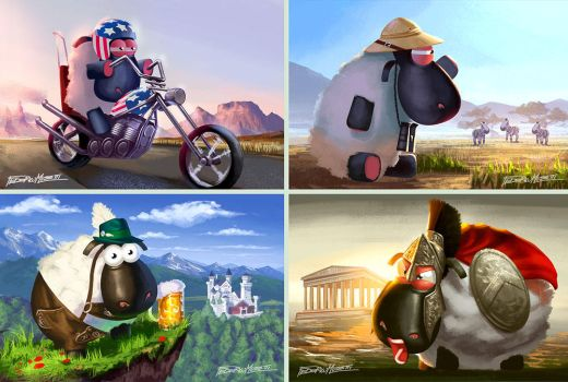 The sheep race - cards2 by FedericoMusetti