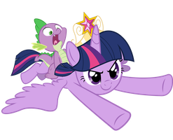Twilight and Spike  - We coming to you! by JoeMasterPencil