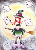 Witch and ghostcats by yukari99