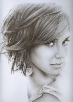 Jessica Alba Pencil Portrait. by JonMckenzie