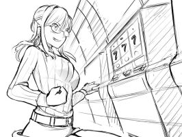 Aiko at the Casino CG Photo Sketch by HuniePot