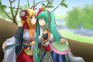 Vocaloid - Rin and Miku - Setsugetsuka by LadyGalatee