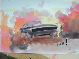 Charger Movie Scene watercolor by prestonthecarartist